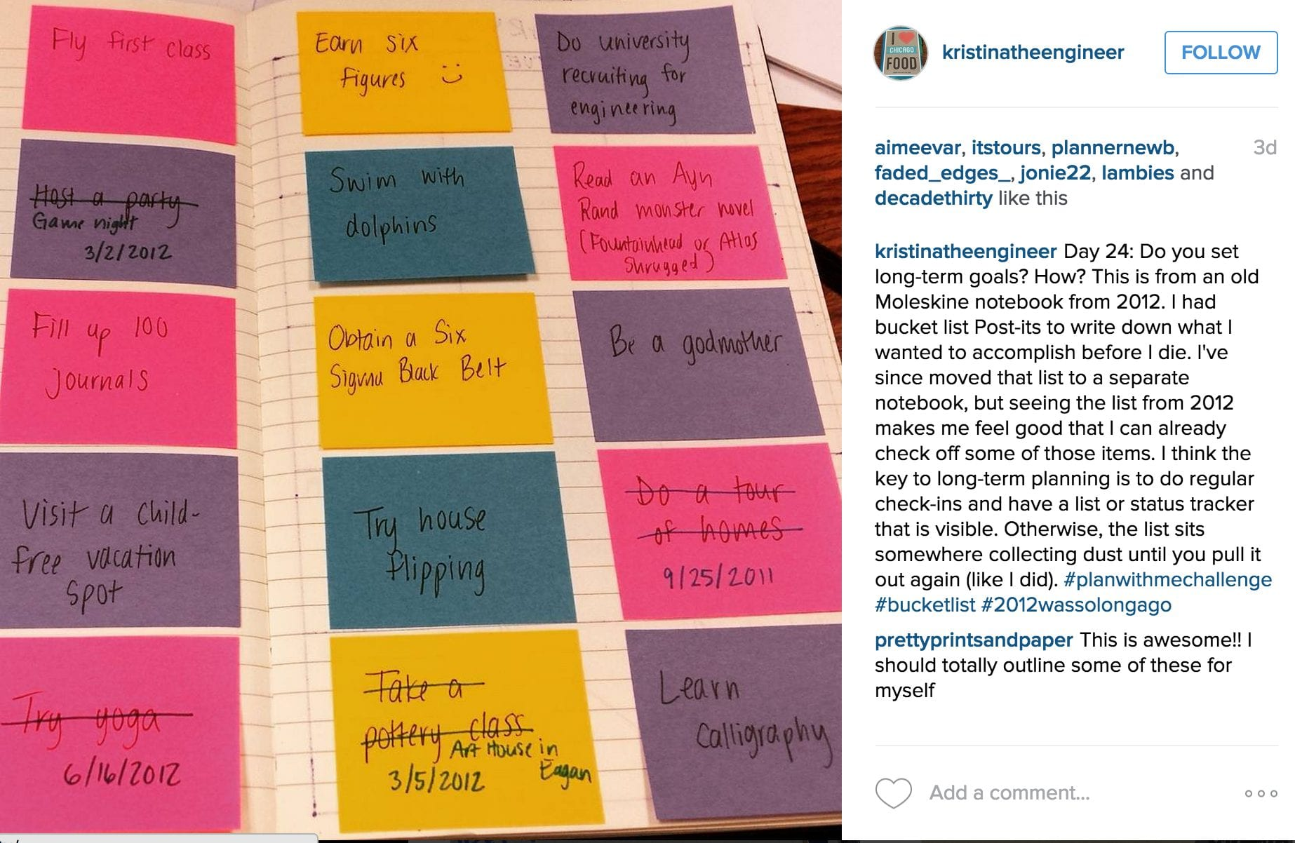 Another fun way to use those post-its I'm sure we all have around somewhere - I love that she went back and noted when she accomplished that goal!