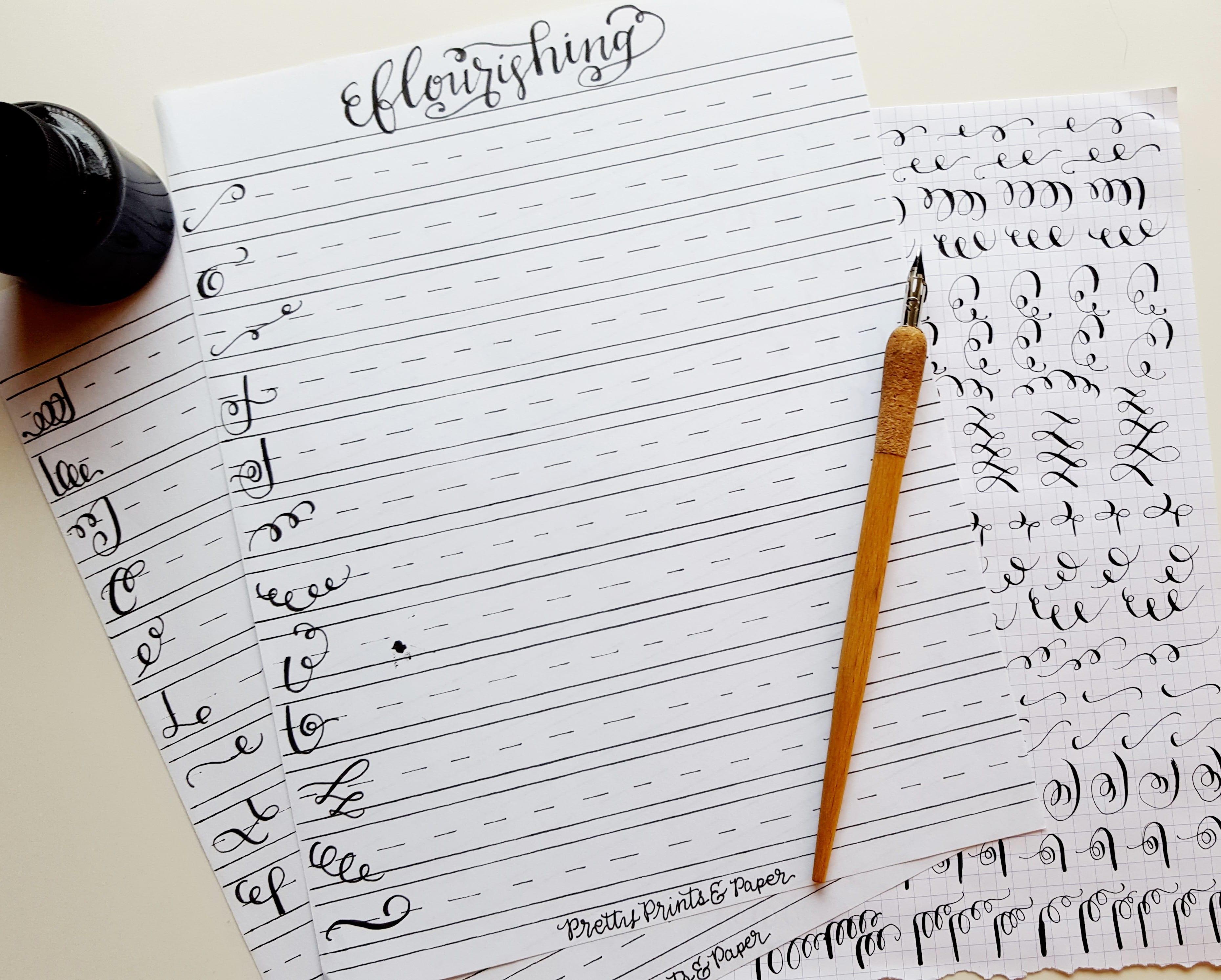 Download your own copy of my calligraphy flourish practice sheet // www.prettyprintsandpaper.com