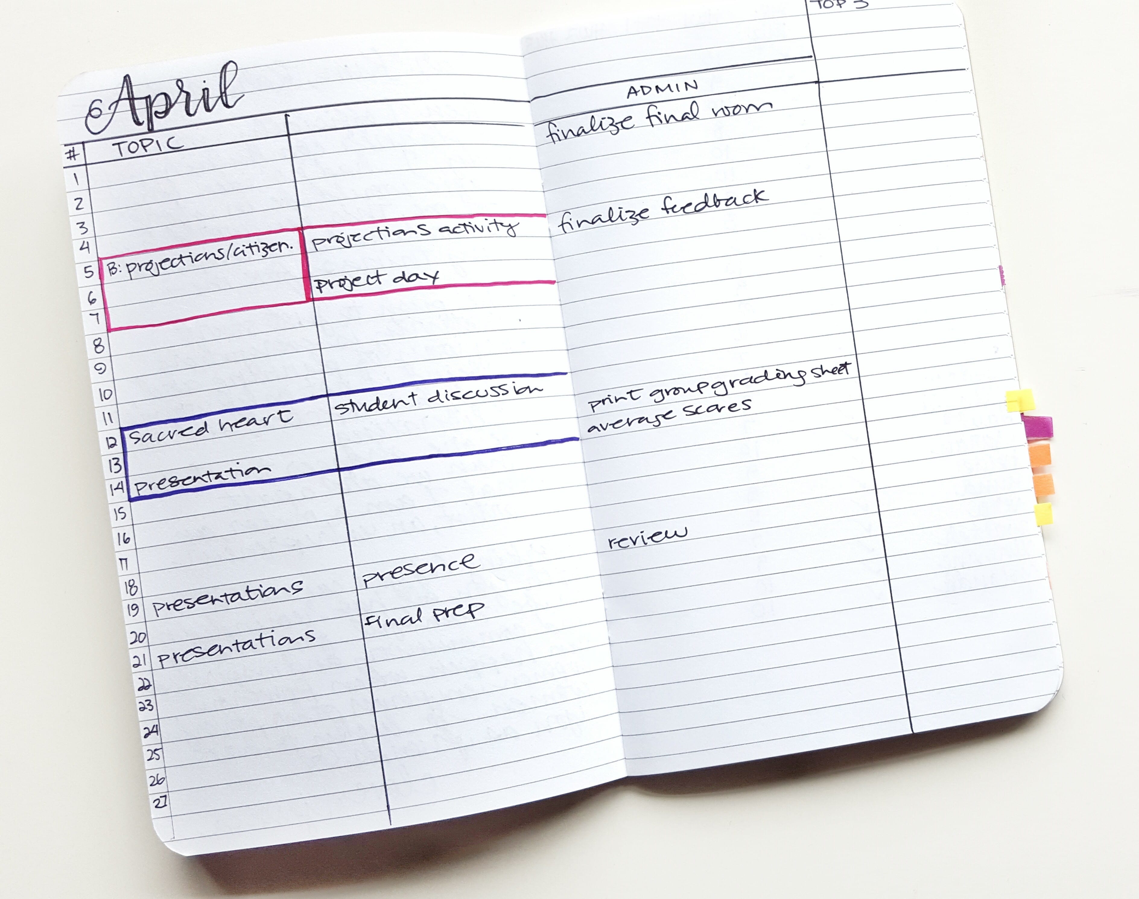 A monthly that can be divided up amongst your different responsibilities in this twist on Ryder's and Kara's monthly layouts // www.prettyprintsandpaper.com