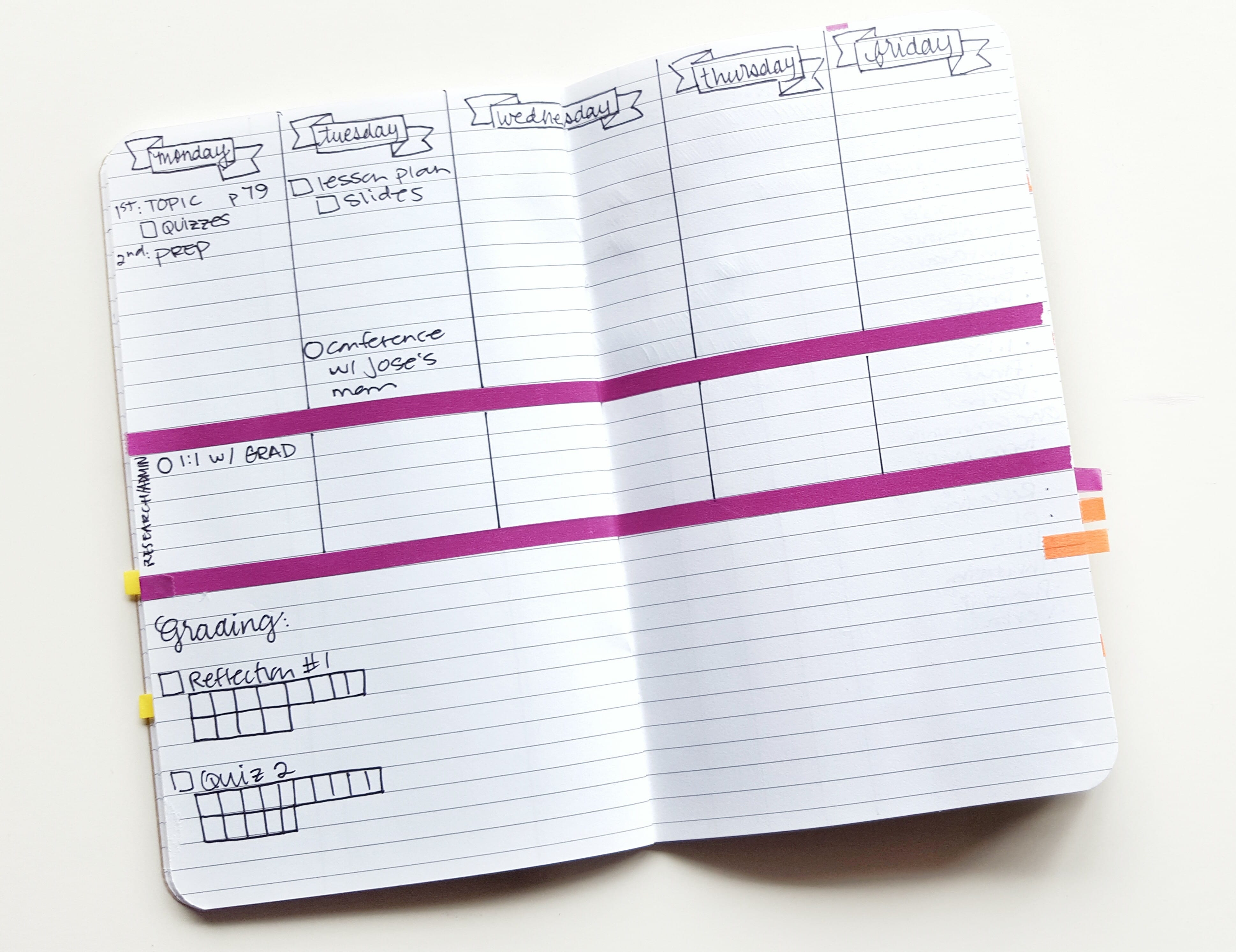 Instead of dailies, try a 5-day weekly to see the progression of your week. Possibilities are endless to categorize or organize your different responsibilities // www.prettyprintsandpaper.com