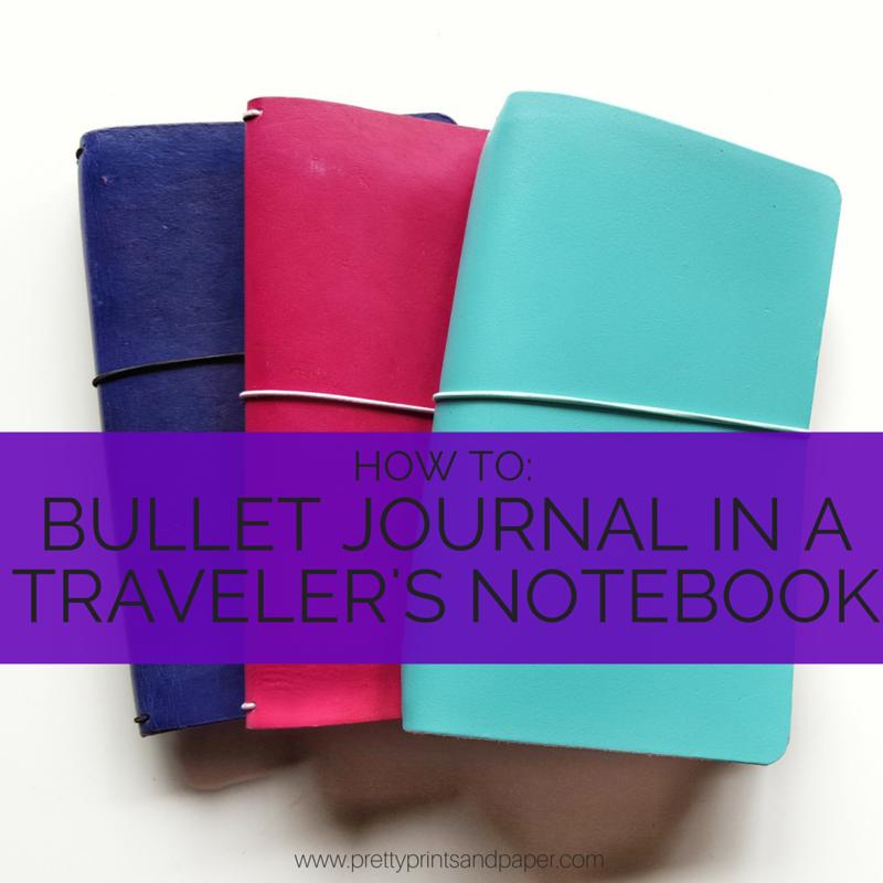 A walk through of how to bullet journal in a traveler's notebook // www.prettyprintsandpaper.com